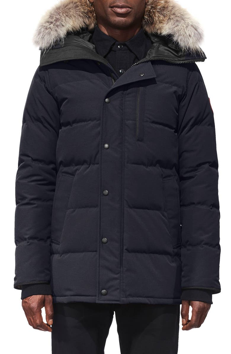 CANADA GOOSE 'Carson' Slim Fit Hooded Parka with Genuine Coyote Fur Trim, Main, color, NAVY