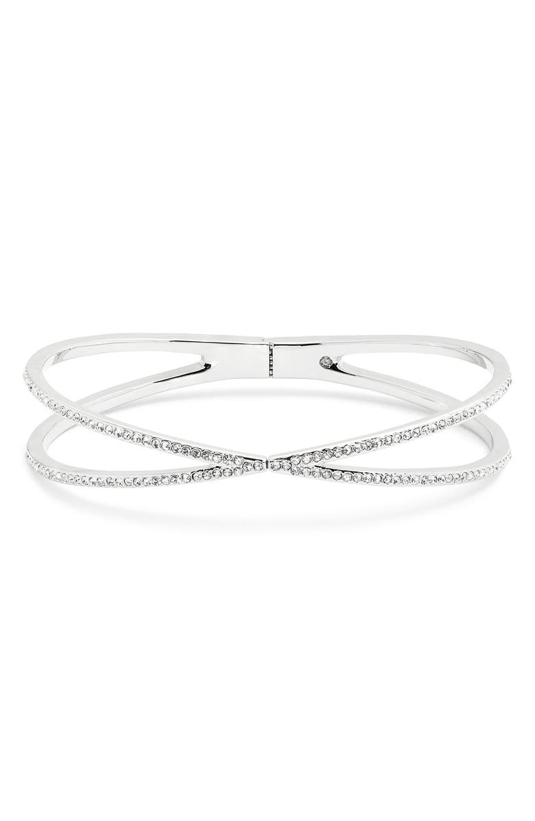 NORDSTROM Pavé Crisscross Hinged Cuff Bracelet, Main, color, CLEAR- SILVER
