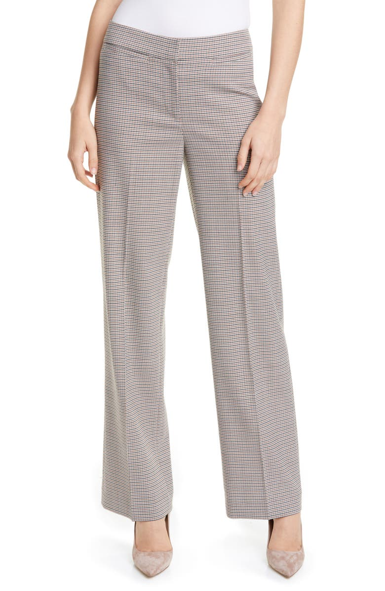 NORDSTROM SIGNATURE Houndstooth Check Wide Leg Trousers, Main, color, 900