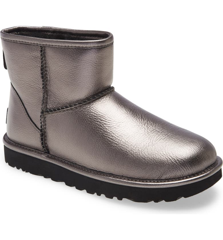 UGG<SUP>®</SUP> Classic Mini II Genuine Shearling Lined Boot, Main, color, GUNMETAL METALLIC LEATHER