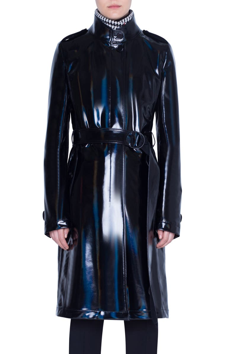 AKRIS PUNTO Lacquered Trench Coat with Removable Glen Check Vest, Main, color, 009