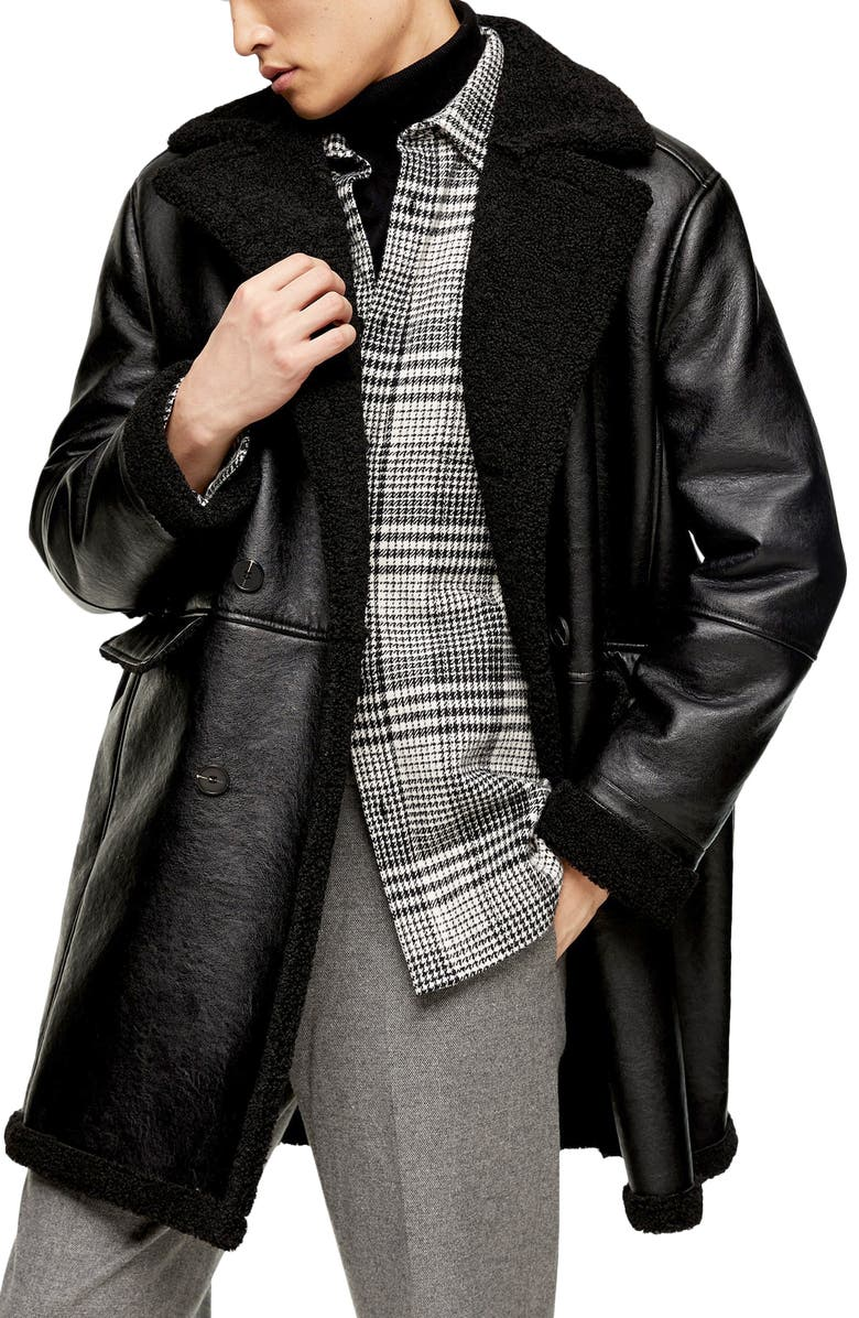 TOPMAN Double Breasted Faux Leather & Faux Shearling Coat, Main, color, BLACK