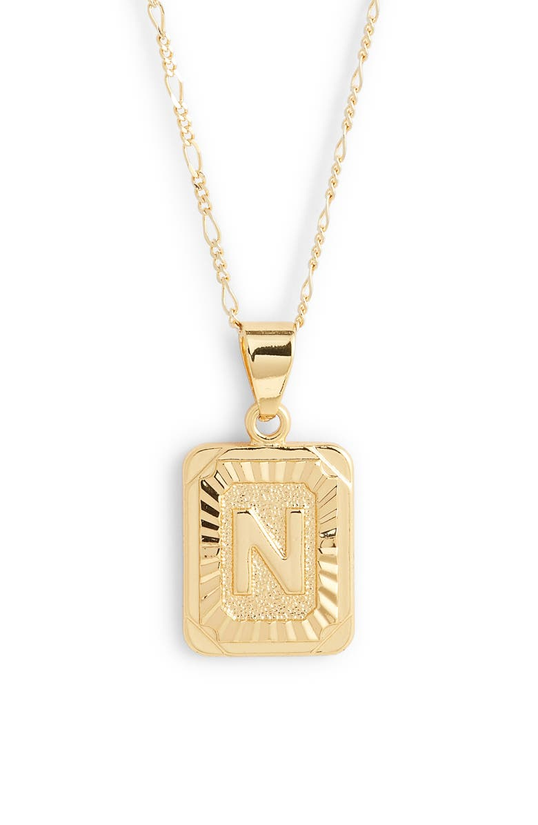 BRACHA Initial Pendant Necklace, Main, color, GOLD-N