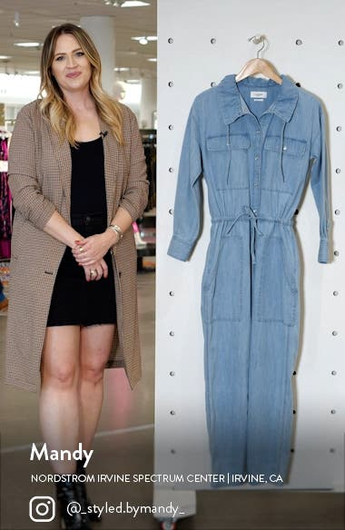 Marvin Long Sleeve Cotton Chambray Jumpsuit, sales video thumbnail