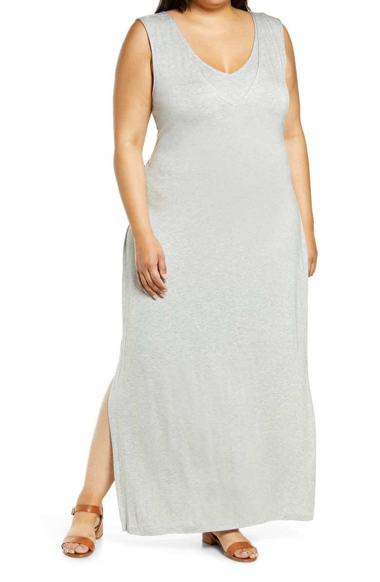 BOBEAU Tank Maxi Dress, Main, color, HEATHER GREY