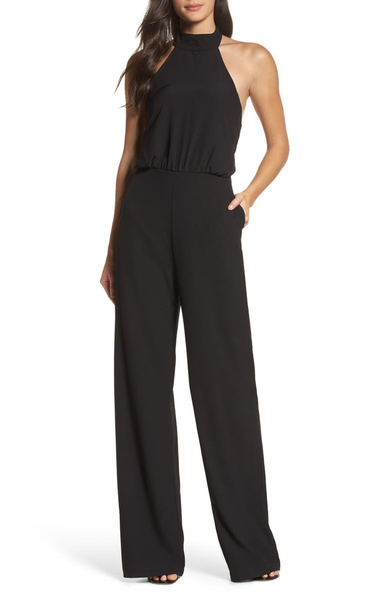 LULUS Moment for Life Halter Jumpsuit, Main, color, 010