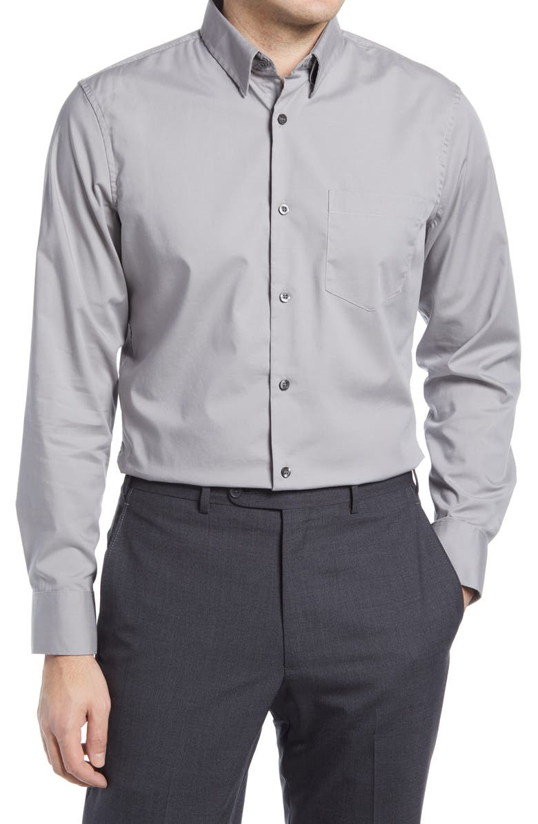 NORDSTROM Trim Fit Non-Iron Stretch Chambray Button-Up Shirt, Main, color, GREY CHAMBRAY