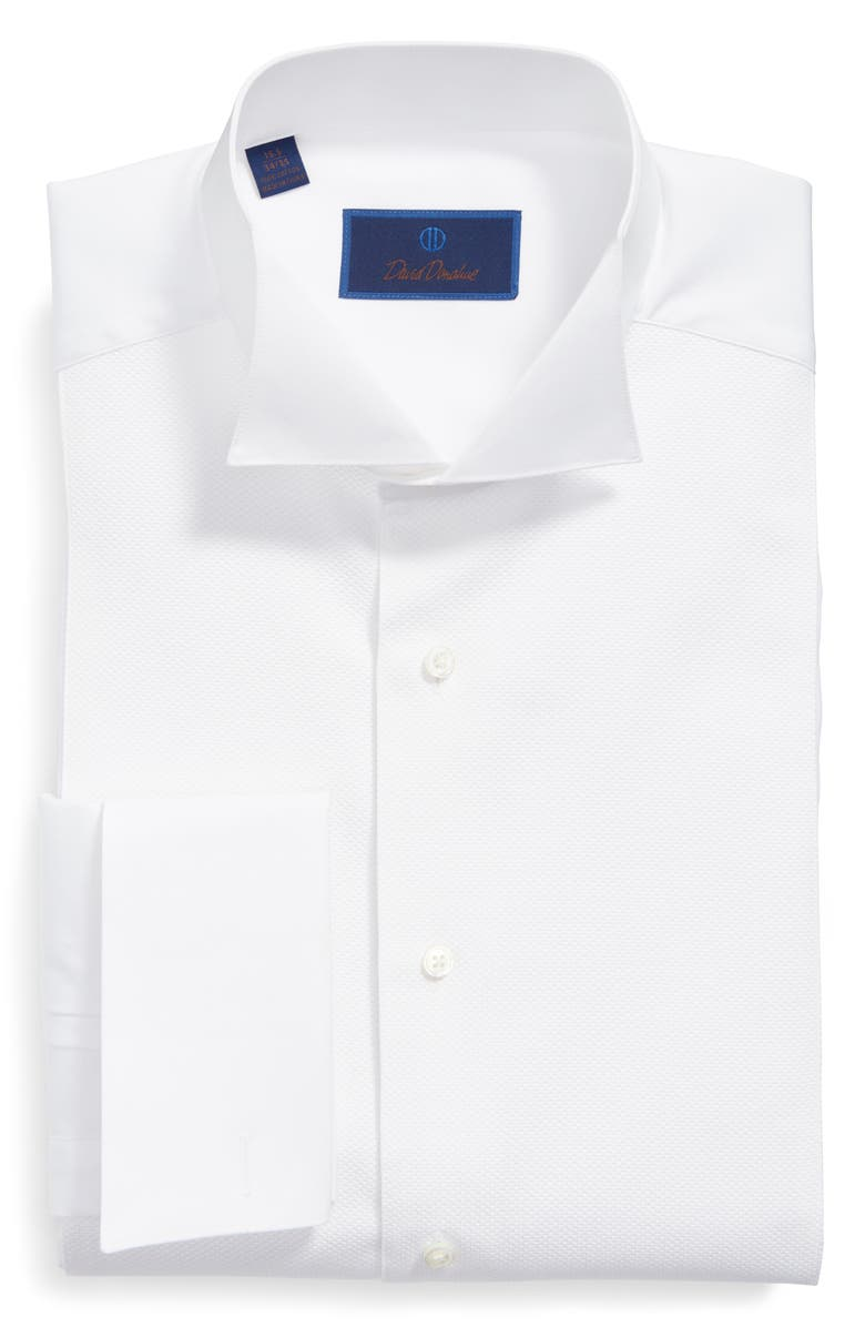 DAVID DONAHUE Regular Fit French Cuff Tuxedo Shirt, Main, color, WHITE