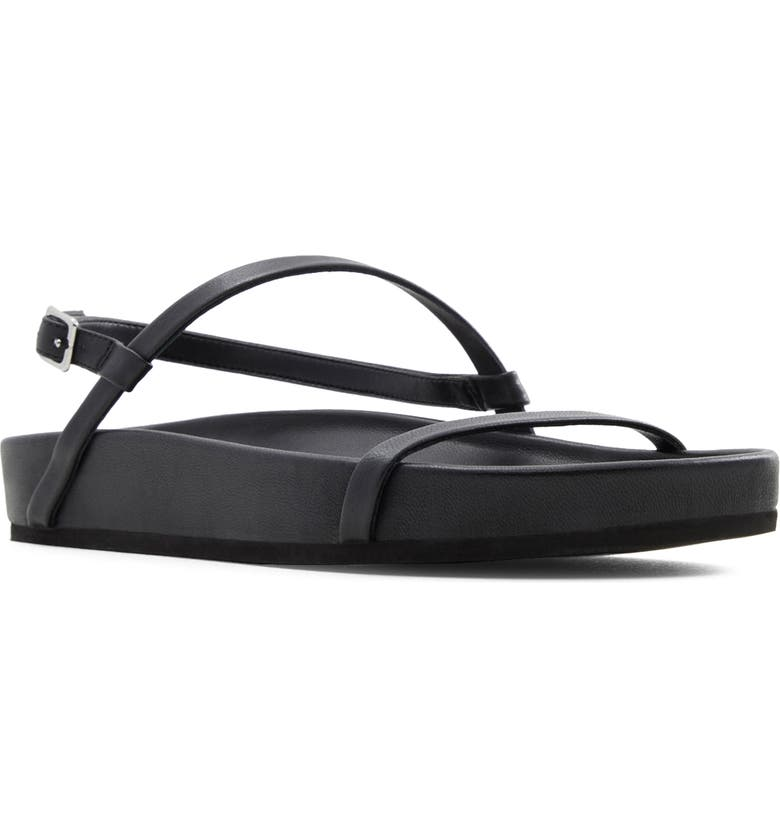 WHO WHAT WEAR Aliyah Sandal, Main, color, BLACK NAPPA LEATHER