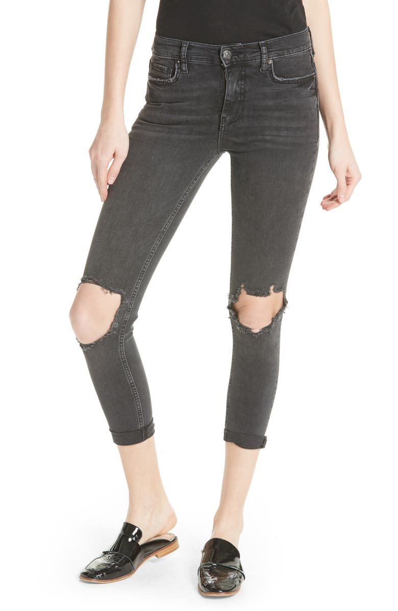 FREE PEOPLE We the Free by Free People High Waist Ankle Skinny Jeans, Main, color, Black