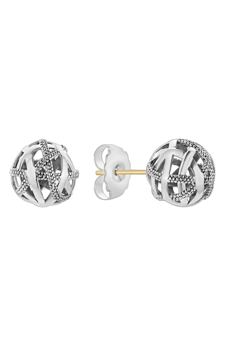 LAGOS Signature Gifts Sterling Silver Woven Knot Stud Earrings, Main, color, SILVER