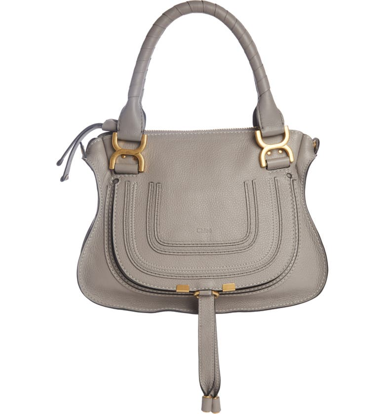 CHLOÉ Small Marcie Leather Satchel, Main, color, CASHMERE GREY