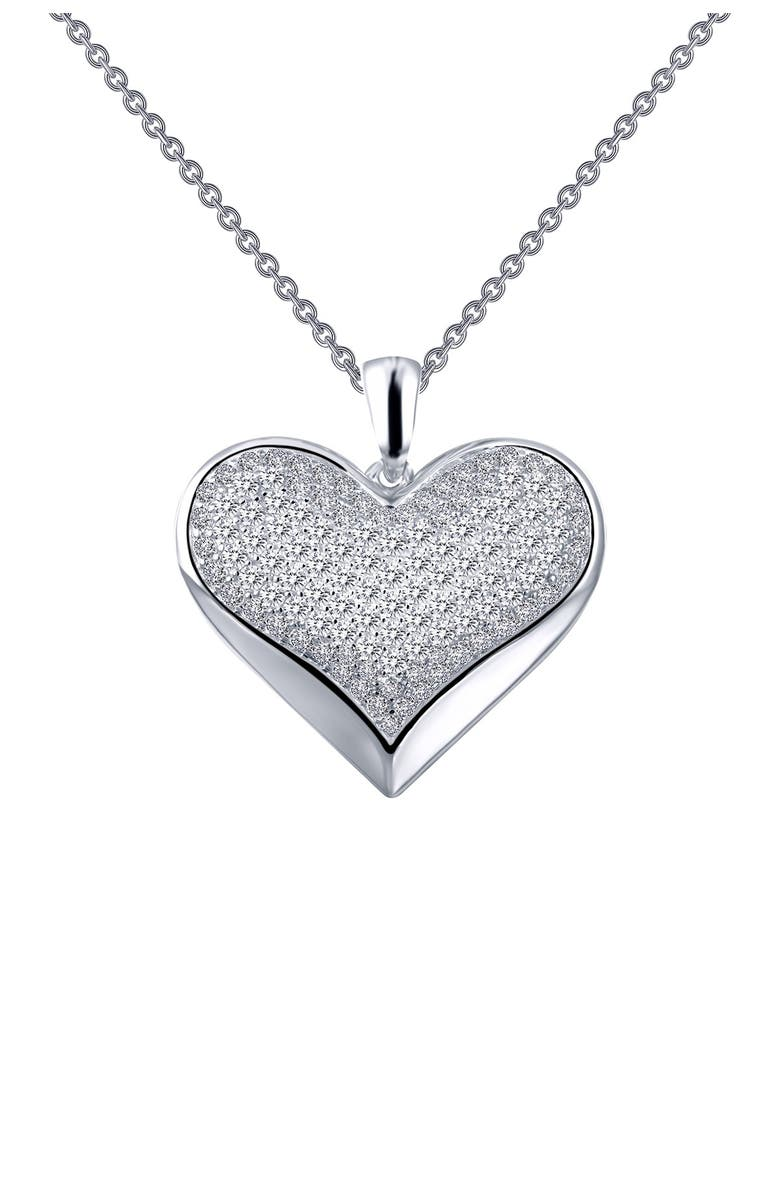 LAFONN Platinum Plated Sterling Silver Simulated Diamond Micro Pave Heart Pendant Necklace, Main, color, WHITE