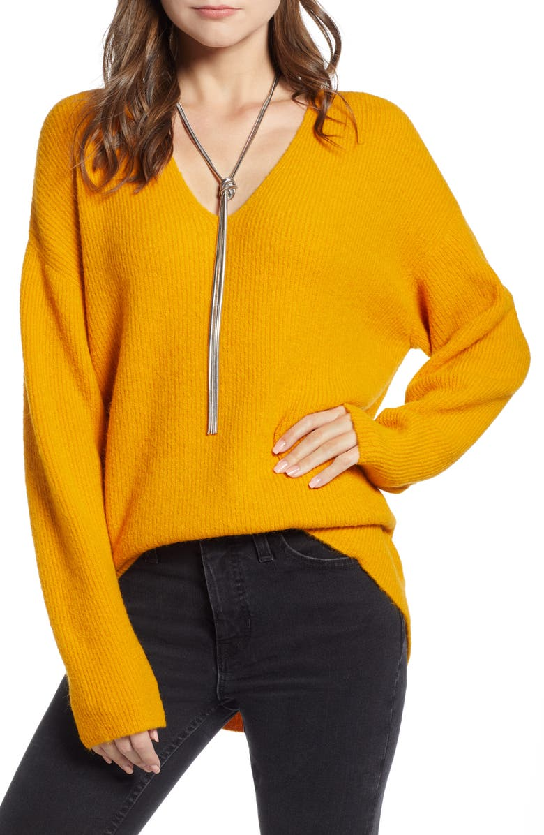 SOMETHING NAVY Low Neckline Slouchy Pullover, Main, color, 800