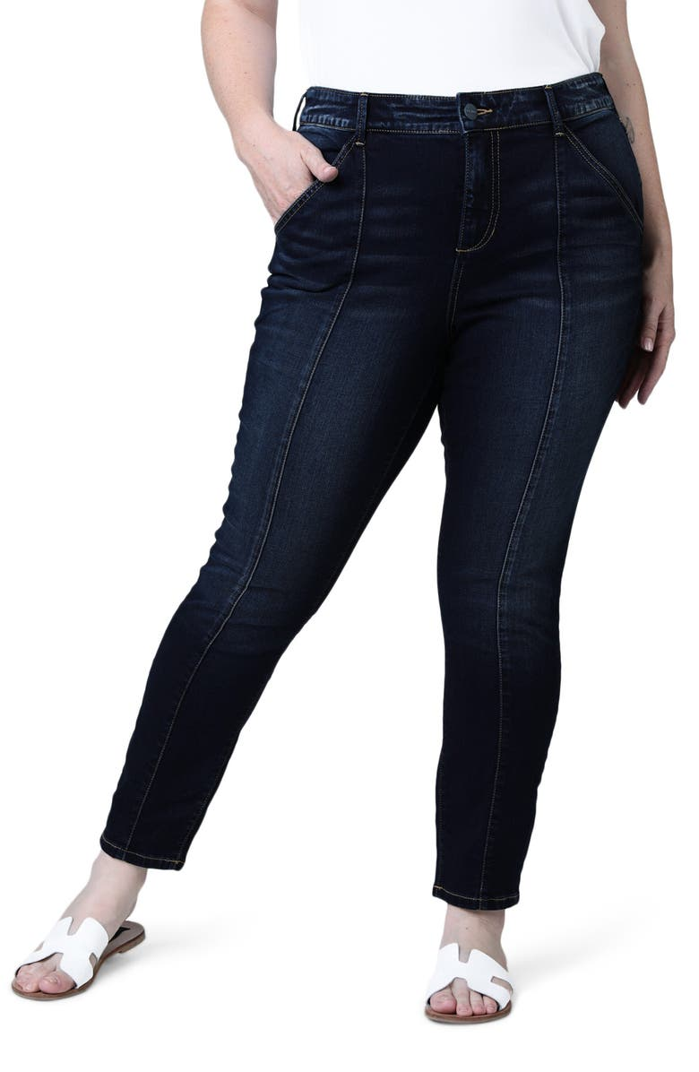 SLINK JEANS Pintuck High Waist Ankle Slim Jeans, Main, color, BRANDY