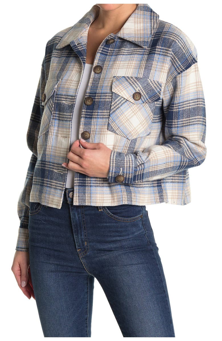 ABOUND Cropped Plaid Jacket, Main, color, NAVY PLAID