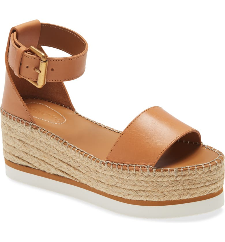 SEE BY CHLOÉ Glyn Wedge Espadrille Sandal, Main, color, CUOIO