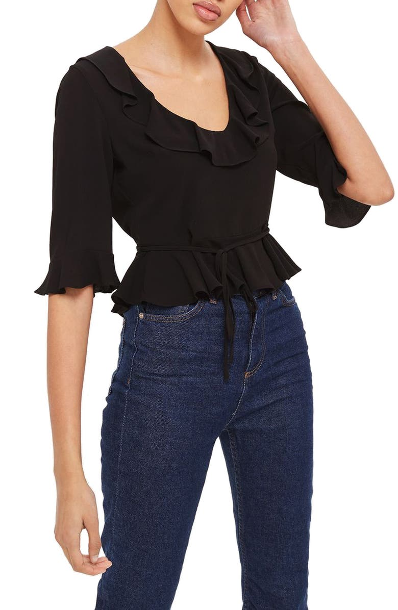 TOPSHOP Phoebe Frilly Blouse, Main, color, BLACK