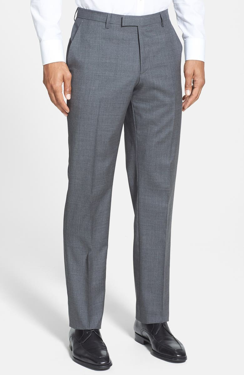 BOSS 'Sharp' Slim Fit Flat Front Wool Trousers, Main, color, 060