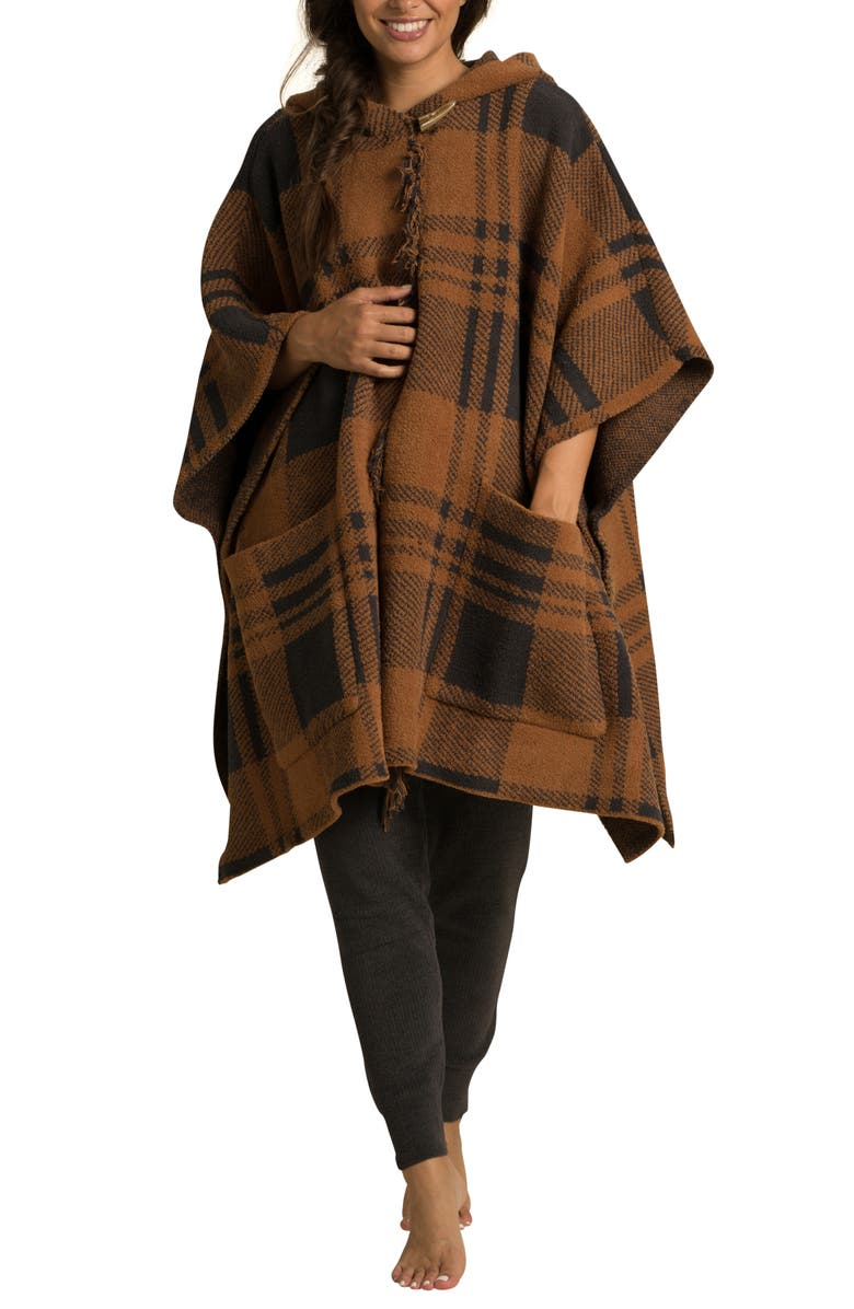 BAREFOOT DREAMS<SUP>®</SUP> CozyChic<sup>®</sup> Plaid Hooded Poncho, Main, color, HONEY/ CARBON