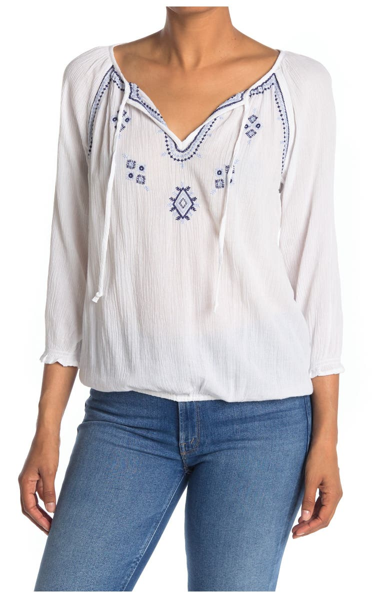 LUCKY BRAND Embroidered 3/4 Sleeve Peasant Top, Main, color, BRIGHT WHITE