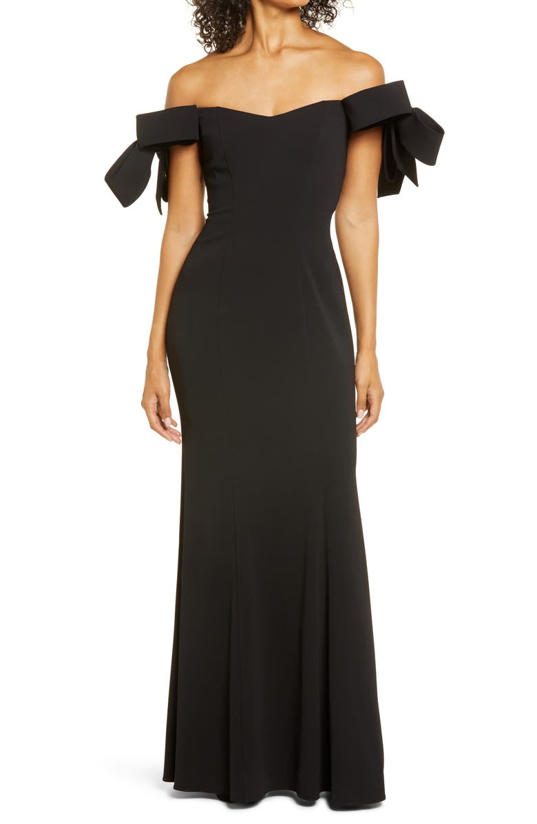 BADGLEY MISCHKA COLLECTION Badgley Mischka Off the Shoulder Bow Sleeve Mermaid Gown, Main, color, BLACK