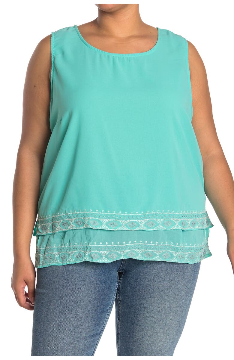 FORGOTTEN GRACE Embroidered Detail Sleeveless Tank, Main, color, MINT