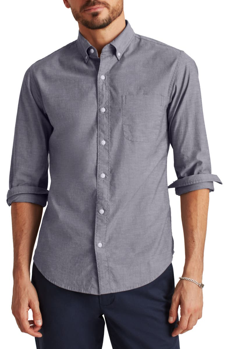 BONOBOS Slim Fit Stretch Chambray Button-Down Shirt, Main, color, SKIPPER BLUE