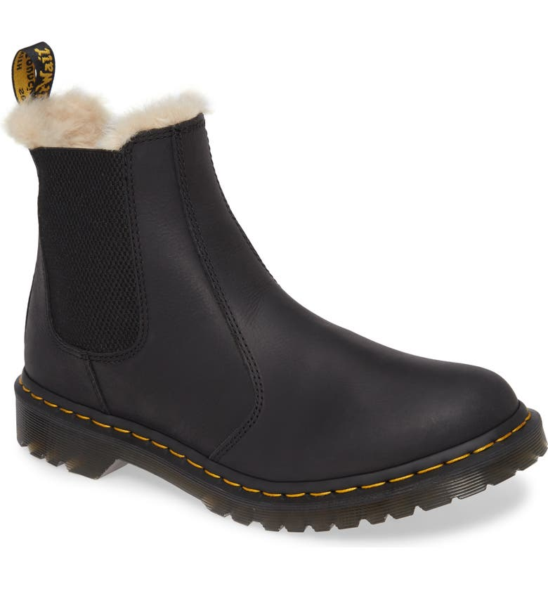 DR. MARTENS 2976 Faux Shearling Chelsea Boot, Main, color, BLACK WYOMING