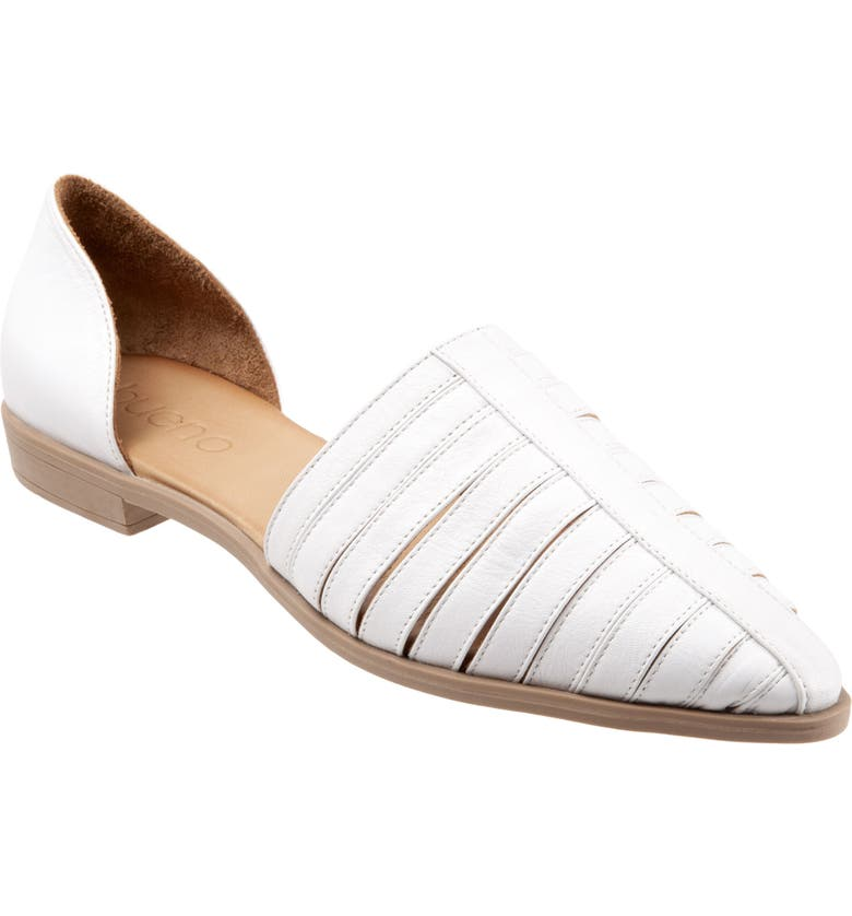 BUENO Brier d'Orsay Flat, Main, color, WHITE LEATHER