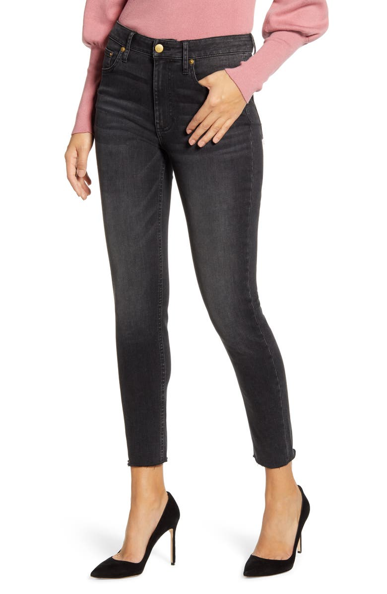 RACHEL PARCELL Raw Hem Skinny Ankle Jeans, Main, color, 001