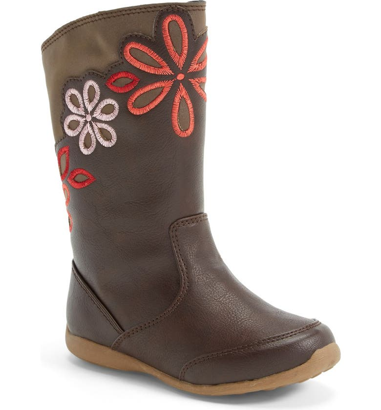 STRIDE RITE 'Lilianna' Floral Embroidered Boot, Main, color, Brown