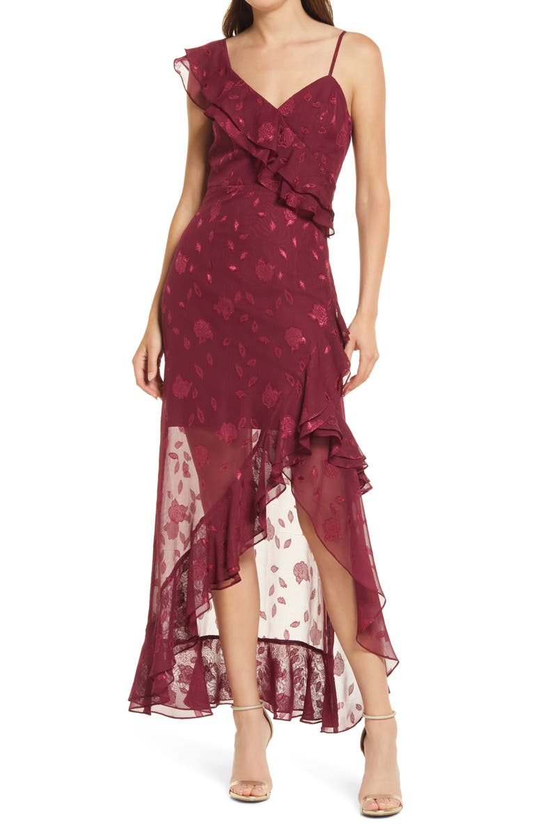LULUS Forever Be Floral Sleeveless High-Low Dress, Main, color, BURGUNDY