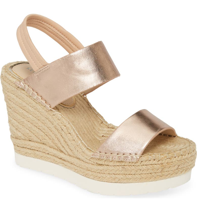 KENNETH COLE NEW YORK Olivia Espadrille Wedge Sandal, Main, color, LIGHT COPPER LEATHER