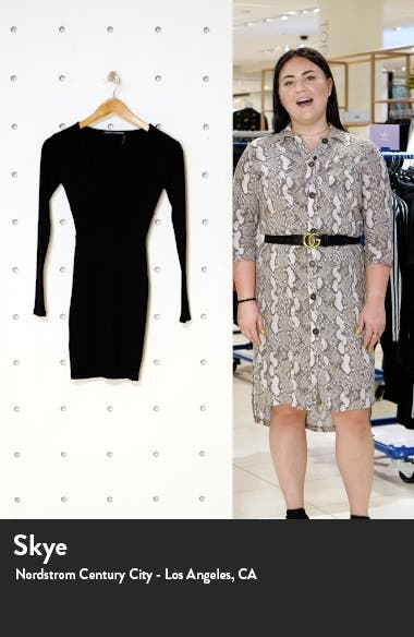 Snatched Bustier Long Sleeve Rib Body-Con Dress, sales video thumbnail
