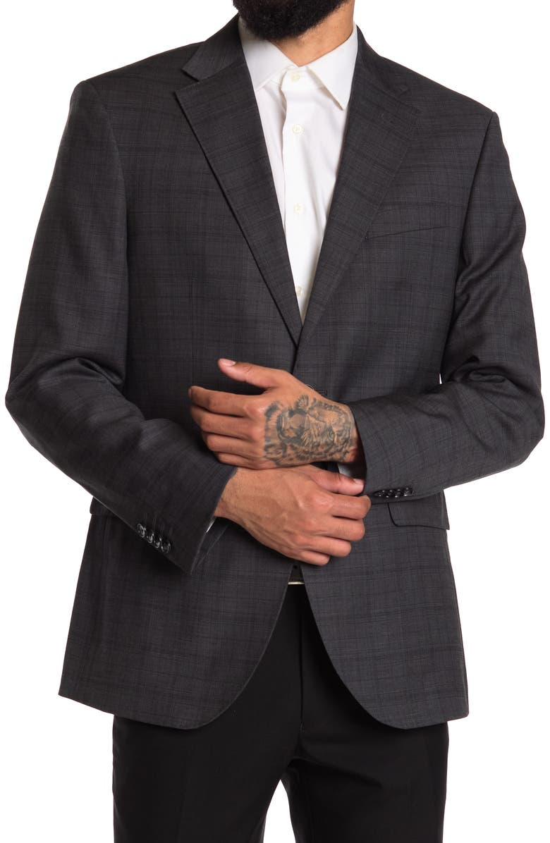 KENNETH COLE NEW YORK Grey Plaid Performance Sports Coat, Main, color, GREY