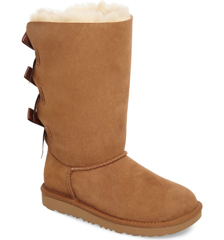 UGG<SUP>®</SUP> Bailey Bow Tall II Water Resistant Genuine Shearling Boot, Main, color, CHESTNUT BROWN