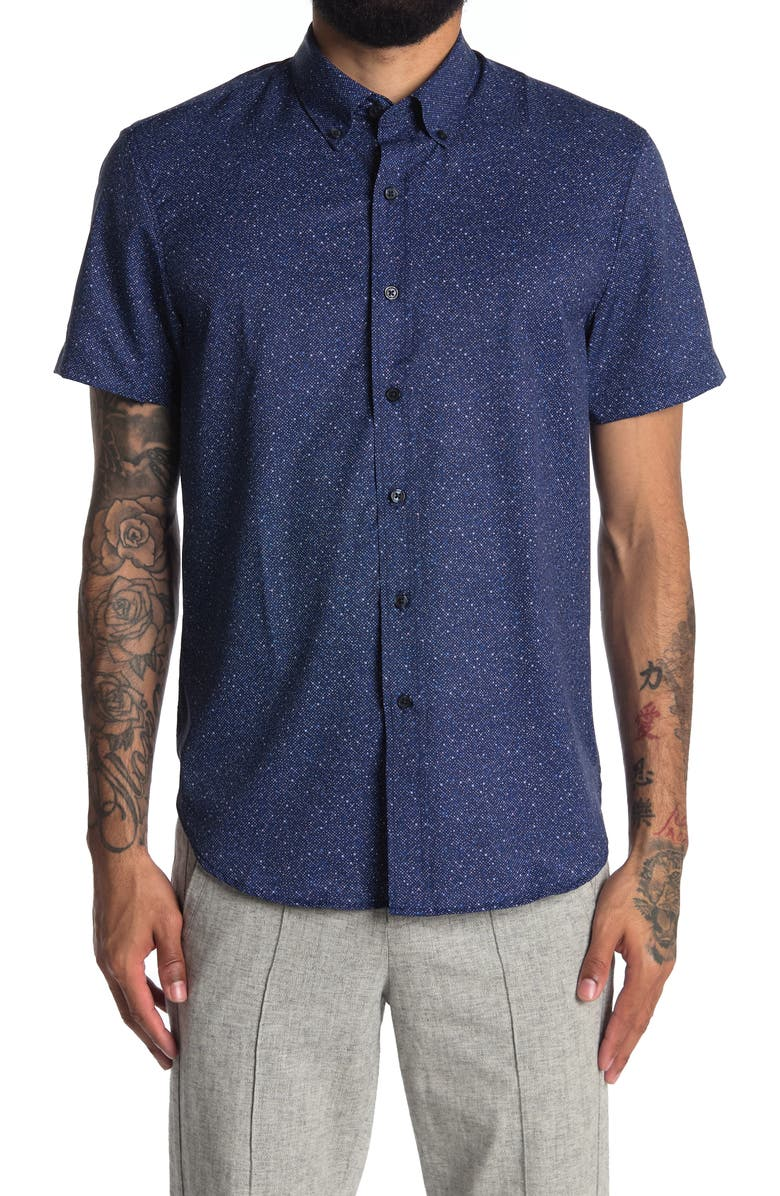 CONSTRUCT Micro Pattern Slim Fit Woven Shirt, Main, color, NAVY