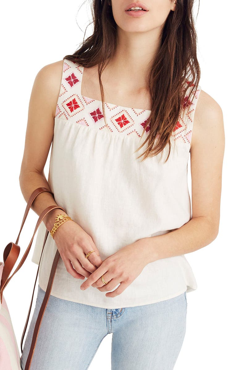 MADEWELL Embroidered Island Tank, Main, color, 900