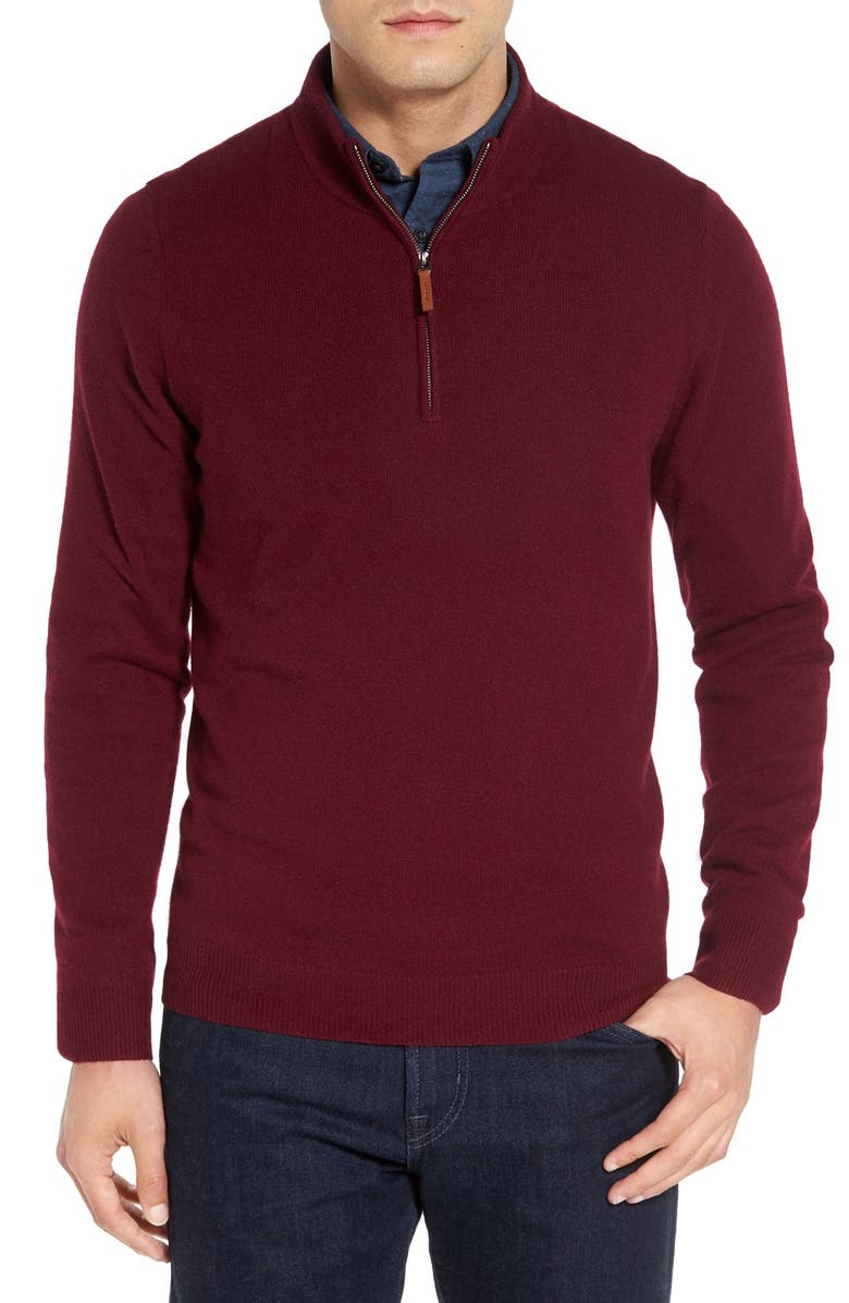 NORDSTROM Men's Shop Regular Fit Cashmere Quarter Zip Pullover, Main, color, BURGUNDY LONDON