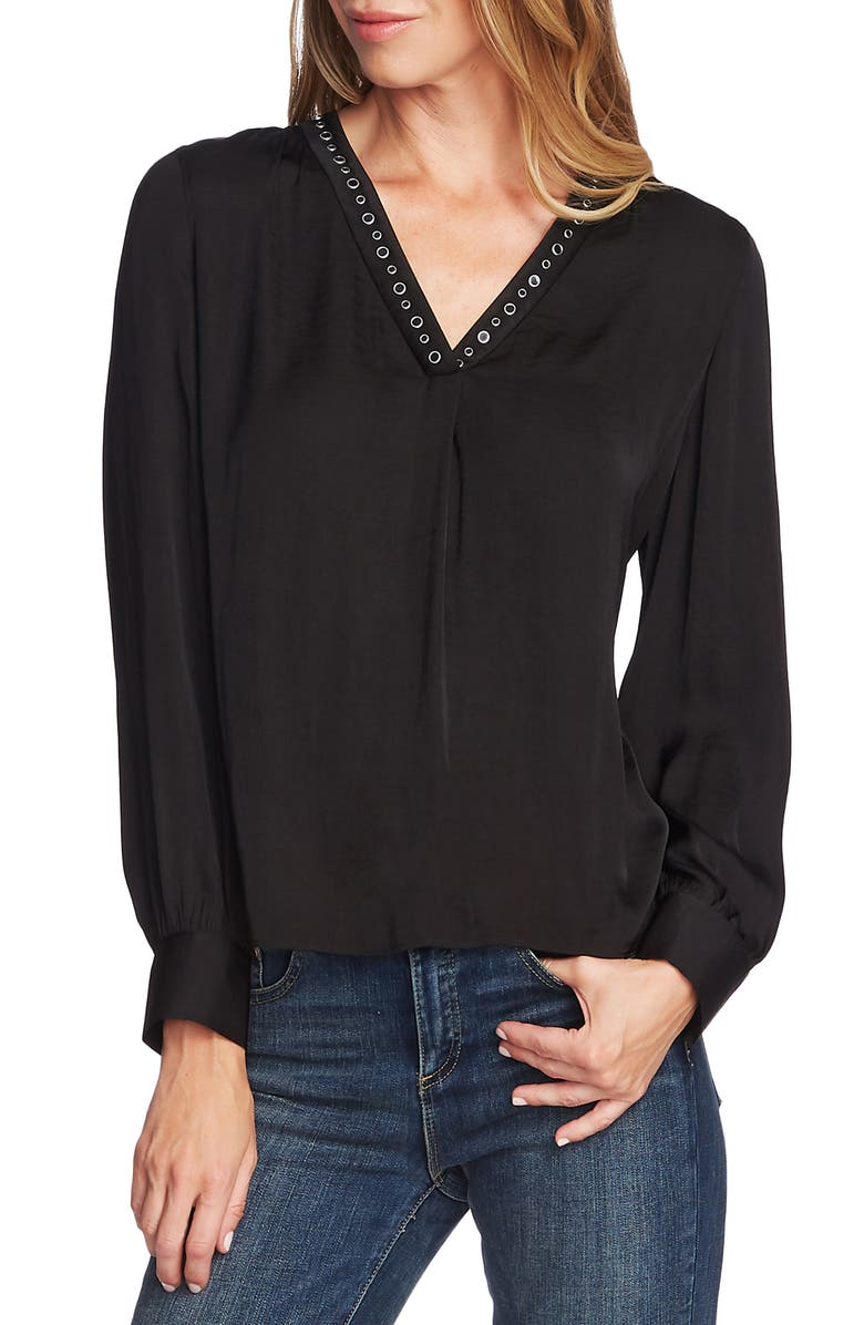 VINCE CAMUTO Studded Rumple Blouse, Main, color, 006