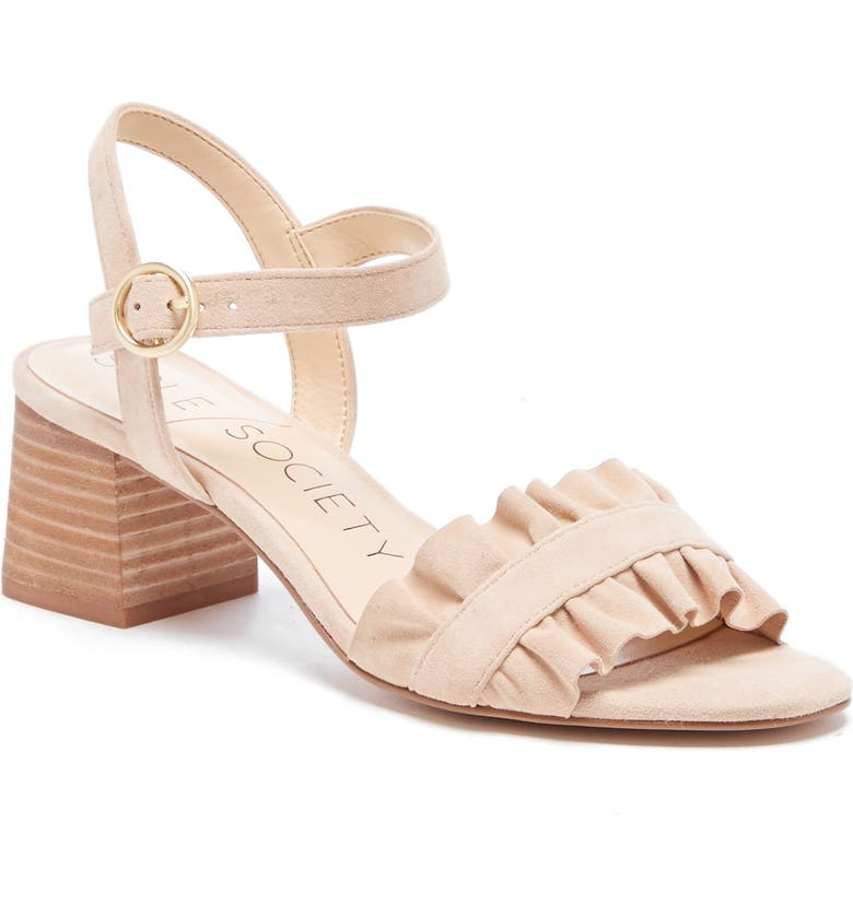 SOLE SOCIETY Scyler Ruffle Sandal, Main, color, SUGAR SUEDE