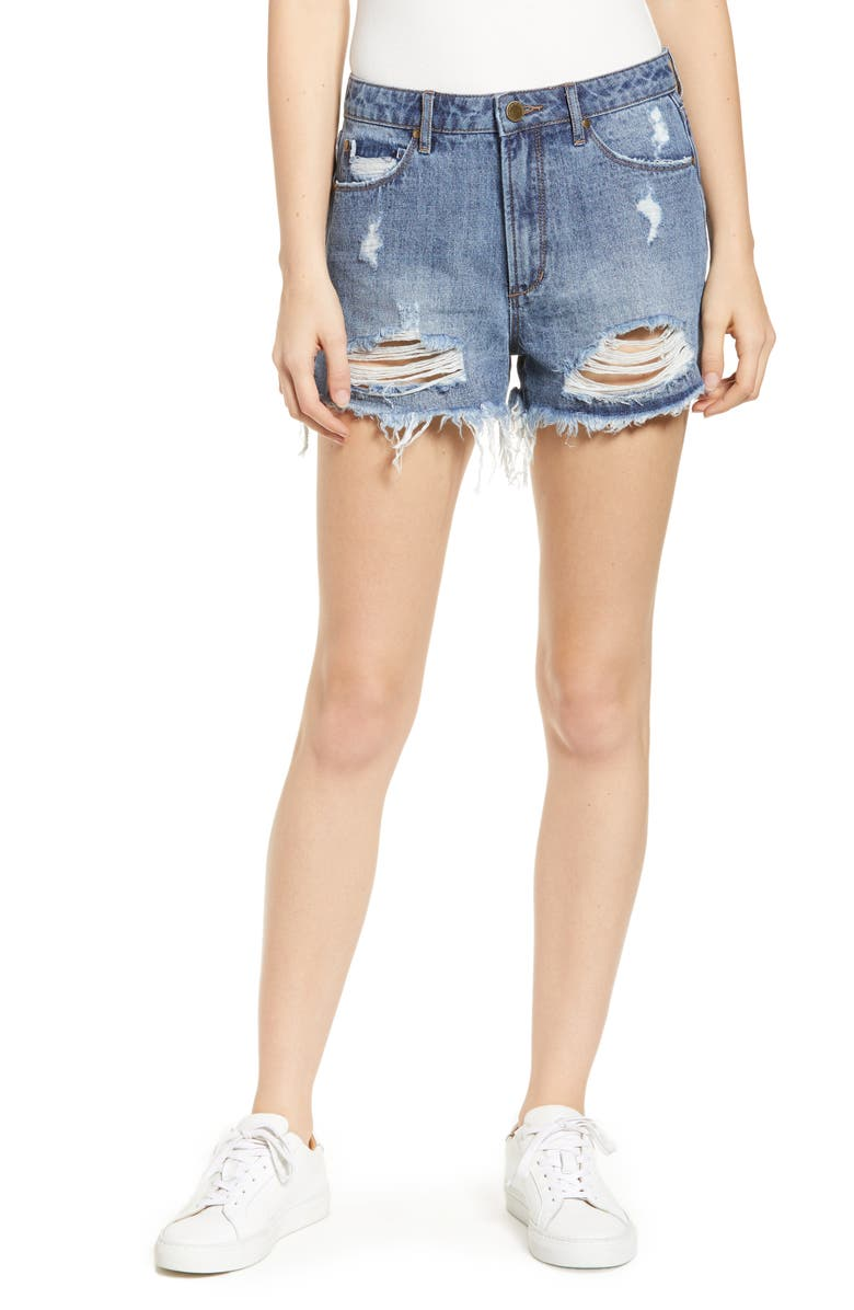 ARTICLES OF SOCIETY Meredith Ripped High Waist Denim Shorts, Main, color, 400
