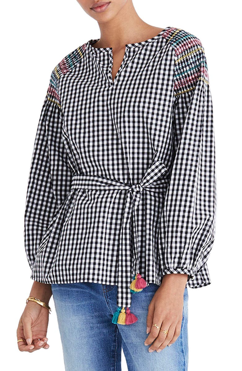 MADEWELL Smocked Gingham Top, Main, color, 009