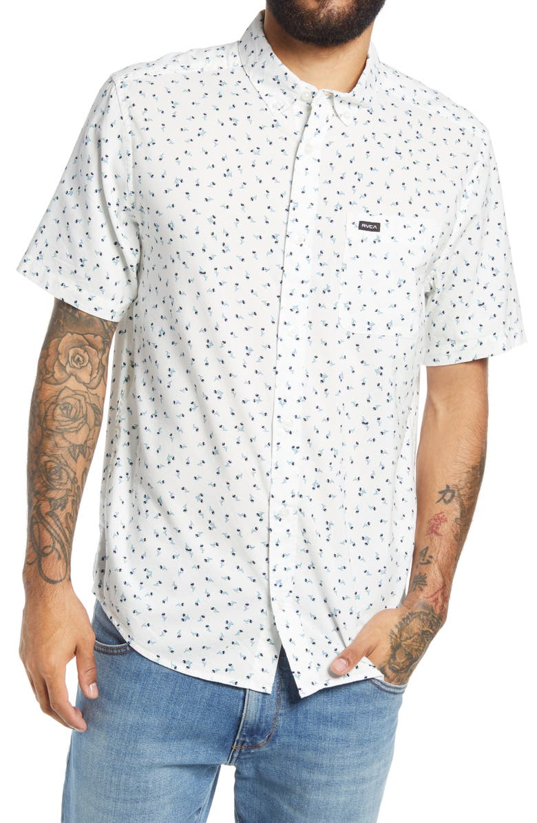 RVCA Men's Scattered Floral Print Short Sleeve Button-Down Shirt, Main, color, ANTIQUE WHITE
