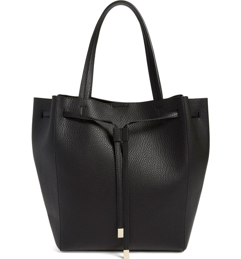 BP. Faux Leather Drawstring Tote, Main, color, Black
