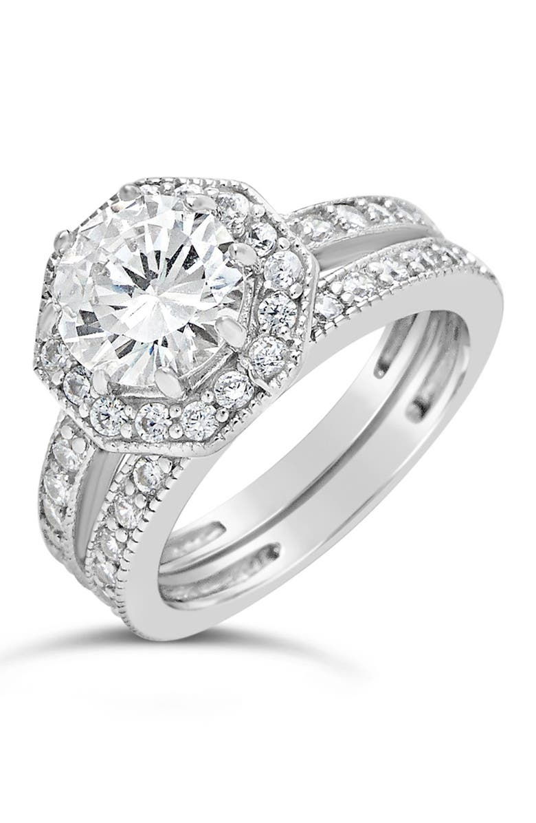 STERLING FOREVER Sterling Silver Octagon CZ Ring & Band Set, Main, color, SILVER