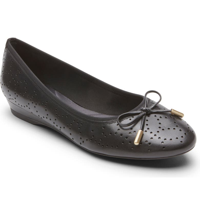 ROCKPORT Shea Perforated Tie Flat, Main, color, 001