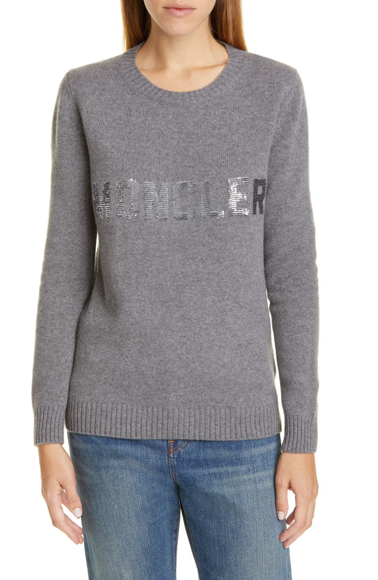 MONCLER Sequin Logo Wool & Cashmere Sweater, Main, color, 031