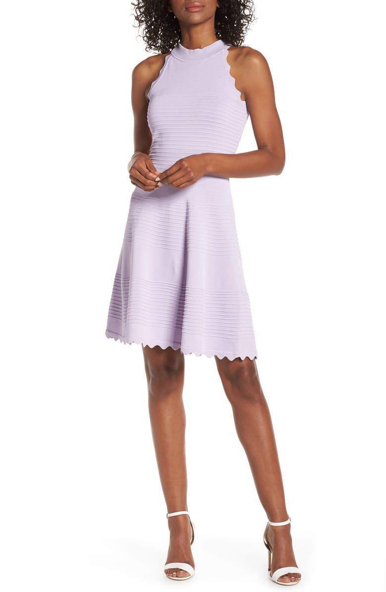 ELIZA J Scalloped Fit & Flare Sweater Dress, Main, color, LILAC